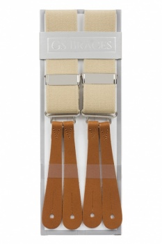 Beige Braces With Leather Ends